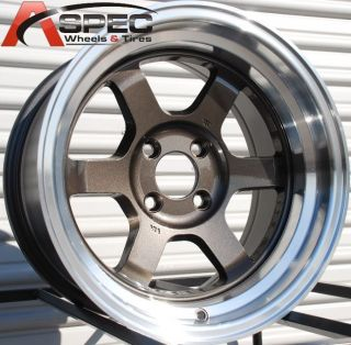 15X8 ROTA GRID V WHEELS 4X100 RIM 0MM ROYAL GUN METAL