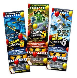 NINJAGO BIRTHDAY PARTY INVITATION TICKET CARD CUSTOM LEGO INVITES   6