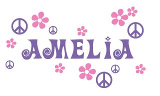 Personalized Peace Name Kids wall art vinyl decal Removable boy girl
