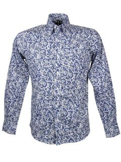 Mens Retro Paisley Shirt L/S Button Down Collar Blue