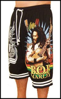 Bob Marley Rasta Reggae Guitar New Black T Shirt Shorts
