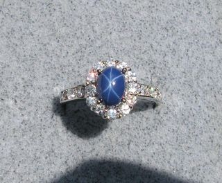 LINDE LINDY CRNFLR BLUE STAR SAPPHIRE CREATED RHOD .925 SILVER CLUSTER