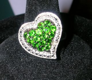 GREEN CHROME DIOPSIDE 1.14ctw Round STERLING SILVER HEART RING SIZE 9