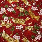 Robert Kaufman Cotton Fabric Lovely Gold Butterflies & Birds Red