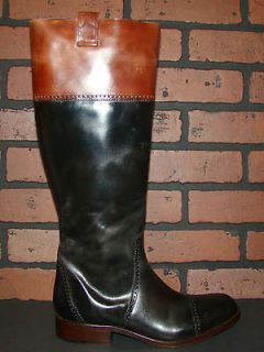 ONE HORSE LUCCHESE COLLARED ENGLISH Black Leather Riding Boots 8
