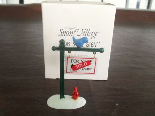 Retired Dept 56 Snow Village   FOR SALE SIGN WITH BIRD   MINT IN