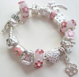 Flower Lampwork Child Dragonfly Love Heart Flower Girl Charm Bracelet