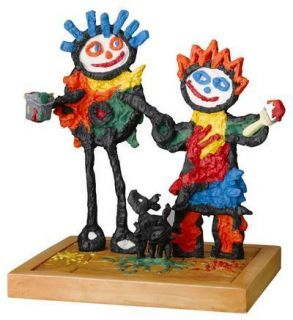 John D Wilson FRIENDS FOREVER SCULPTURE Naive Art Cute