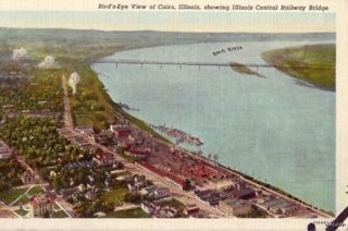 BIRDS EYE VIEW OF CAIRO, IL ILL CENTRAL RAILWAY BRIDGE