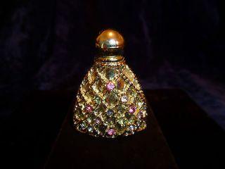 Vntg Mini Perfume Bottle Gold Tone Filigree Rhinestone Jeweled