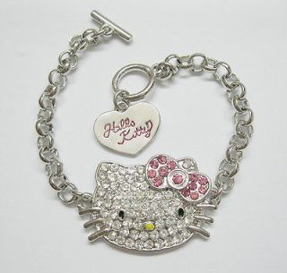 1PCS Lovely Pink Bow Hello Kitty CRYSTAL Bracelet for Girl Birthday