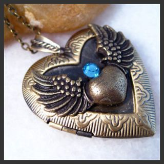 Blue Sapphire Angel Wing Heart Brass Picture Locket Pendant Necklace