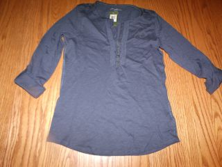 NWT WOMENS EDDIE BAUER 3/4 Sleeve Henley Ruffle NAVY BLUE SHIRT SMALL