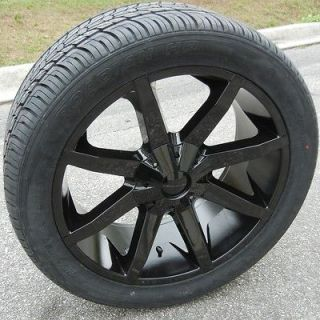 22 BLACK KMC SLIDE WHEELS RIMS & NEXEN ROADIAN TIRES SILVERADO TAHOE
