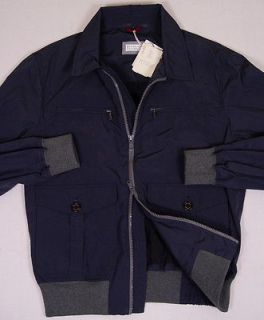 BRUNELLO CUCINELLI COAT $1,695 DARK BLUE DUAL ZIP LIGHT JACKET LARGE