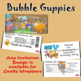 Bubble Guppies Birthday Candy Wrappers 20 each Personalized Custom
