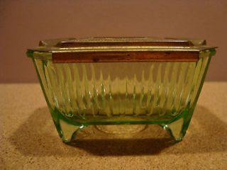 Unique Rare Brass Slide Top Ashtray of Green Vaseline (Uranium) Glass