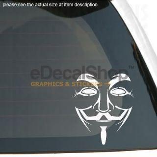 GUY FAWKES MASK Vinyl Sticker Car Window Racing Decal