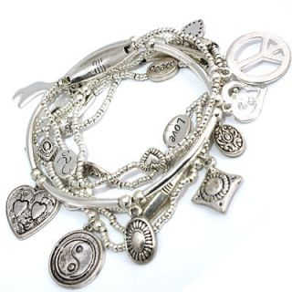 Joy Yin Yang Charms Good Karma Charm Silver Stretch Bracelets 6 Set