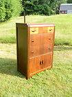 Waterfall Walnut Art Deco Highboy Dresser Bureau Chest of Drawers