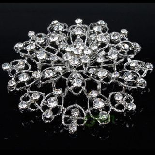 Dress Brooch Pin Snowflake Style Clear Rhinestone Crystal Corsage