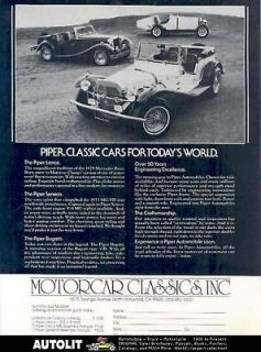 1982 Piper Seneca MG TD Bugatti VW Kit Car Brochure
