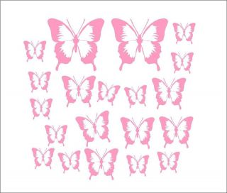 Bathroom Bedroom Kitchen Decorative Butterfly Decal Sets Colour Choice