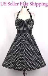 50s SmallWhiteDot/Black PlusSize 4X Vintage Pinup Polka Dot Dress