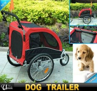 New Pet Dog Bike Bicycle Trailer Stroller Double Space Black Red Brake