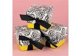 100 NEW Black & Yellow Damask Wedding Favor Boxes