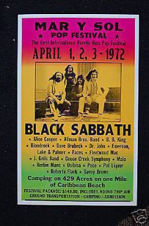 Black Sabbath 1972 Tour Poster Mar Y Sol Pop Festival