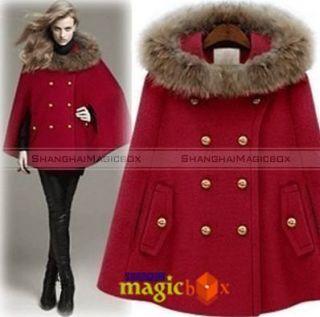 Women Fashion Vintage Faux Fur Collar Cape Jacket Cloak Coat 3 Colors