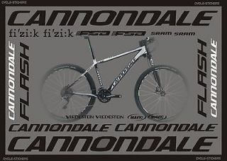 CANNONDALE FLASH 2012 BIKE STICKERS GRAPHICS DECALS CANNONDALE BIKES