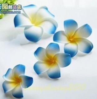 Blue Fabulous Hawaiian foam frangipani flowers wedding party decor 8CM