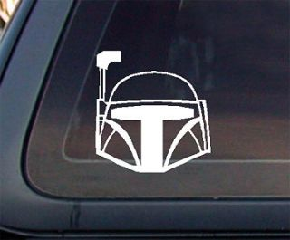 Star Wars Boba Fett Helmet Car Decal /Sticker (477)   White