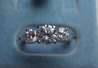 14K White Gold 3 Stone Diamond Ring 1.11 Carats Size 4.75 Appraised at