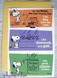 PEANUTS SNOOPY   BIRTHDAY * YOU NEVER GET OLD *   GREETING CARD