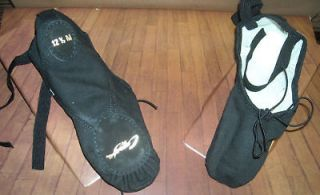 New/Box Capezio Split Sole Canvas Ballet shoes Black
