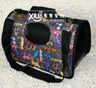 Travel Bag Tote Outdoor Carrier Foldable Brown Cartoon for Small Dog