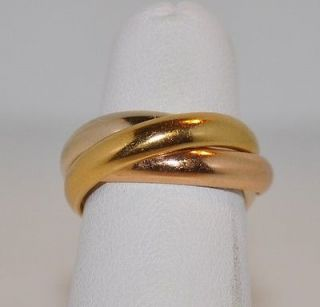CARTIER TRINITY RING 18KT TRI COLOR GOLD SIZE 52 CLASSIC CARTIER