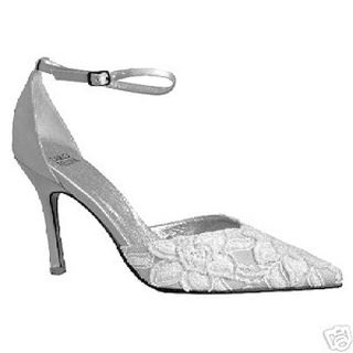Carlo Fellini Denise White Beaded Satin Ankle Strap Wedding Bridal