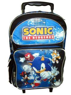Sega Sonic The Hedgehog Tails Knuckles Silver Large Rolling Backpack