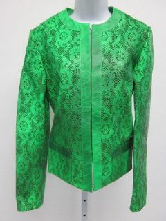 CHRISTOPHER KANE Bright Green Leather Laser Cut Crew Neck Jacket Sz 8