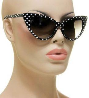 New Nikita Black Frame White Polka Dots Womens Cat Eye Vintage Style