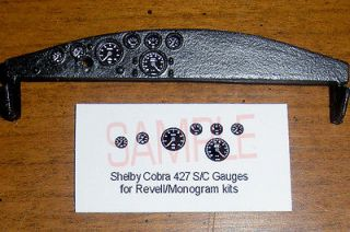 SHELBY COBRA 427 S/C GAUGE FACES!   for 1/25 scale REVELL/MONOGRA​M