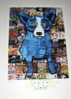 LISTED CAJUN GEORGE RODRIGUE BLUE DOG S/N SILKSCREEN W/HAND DRAWN