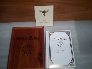 CAW Canadian Auto Workers Dove of Peace KJV Holy Bible inside Wooden