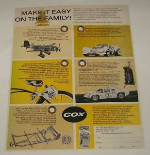 1966 Cox ad ~ JU87D STUKA, JIM HALL CHAPARRAL, etc
