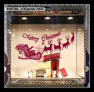 Large Santa Claus Christmas Deer Shop Window Wall Art Decoration