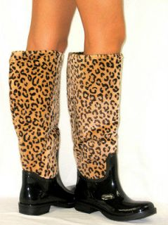 FUR LINED* Flat GALOSHES WELLIES RUBBER RAIN Boots LEOPARD CHEETAH